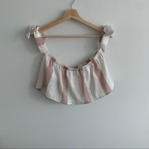 Pink and White - Stripped Crop Top - Tie Sleeve